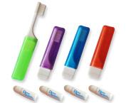 4 x Orthodontic Travel Toothbrush & 4 Mini Toothpaste ~ VTrim