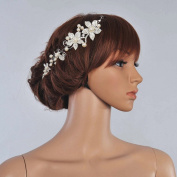 WINOMO Bridal Tiara Headband Crystal Pearl Flower Wedding Hair Band White