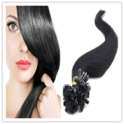 Sexyqueenhair 100g 100 STRANDS Pre Bonded Nail U Tip 100 % Remy Human Straight Hair Extensions 50cm Colour #1B