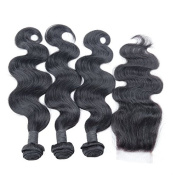SAOMAI® Grade 6A Brazilian Virgin Hair With Closure 3 Bundles 100g/bundle Human Hair Weave Body Wave With Closure Free Part
