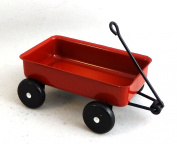 Dolls House Toy Shop Nursery Accessory Pull Along Red Metal Truck Cart Waggon