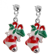 Christmas Stocking Pattern Earrings Ear Studs Christmas Gift Colourful