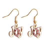 JOY Letter Rhinestone Dangle Earrings Christmas Party Gift