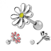 SoulCats® Trendy Stainless Steel Piercing Fakeplugs flower helix cartilage pink white Earrings
