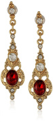 Downton Abbey Boxed Gold-Tone Ruby Crystal Drop Earrings