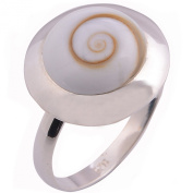 Excellently Shiva Eye Flower 925 Sterling Silver Ring Size L to R Adjustable