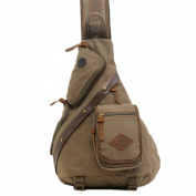 MOONWALK Vintage Mens Canvas Chest Pack Crossbody Shoulder Bag Cycling Bike Sling Bag Messenger Rucksack