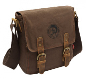 AINISI Mens New Casual Fashion Coffee Canvas Messenger Bags Shoulder Bag Crossbody Bag