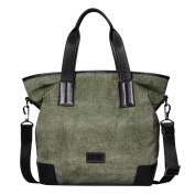 ONEWORLD High Quality Men's Fashion Canvas Anti-Water With Leather Double Tote Handbag Travel Bag With One Shoulder Taking Strap