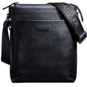 ONEWORLD High Quality Men's Genuine Rea Leather Cowhide One Shoulder Cross Body Messenger Handbag Top Zipper Open