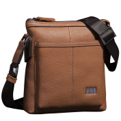 ONEWORLD New Men Genuine Cowhide Messenger Bag Business Casual Bags First Layer Of Leather Shoulder Bag Khaki