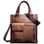 ONEWORLD Brand New Fashion Casual Men's Genuine Cowhide Business Briefcases Full Grain Leather Handbags Messenger Shoulder Bags Coffee