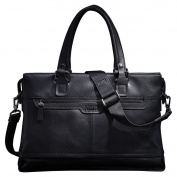 ONEWORLD High Quality Men's Double Tote Handbag Real Leather Made Fashion Document Bag Cross Body Shoulder Bag