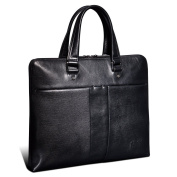 ONEWORLD New England Style Business Multifunction Genuine Cowhide Briefcases Fashion Full Grain Leather Handbags Black