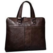 ONEWORLD New England Style Business Multifunction Genuine Cowhide Briefcases Fashion Full Grain Leather Handbags Coffee