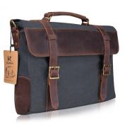 Kattee Vintage Canvas Leather Messenger travelling Briefcase shoulder laptop Bag