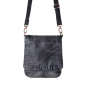 Washed leather shoulder bag for men strap flap and studs DUDU Black Slate
