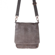 Washed leather shoulder bag for men strap flap and studs DUDU Grey Stone