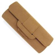 Camel Brown Beige Velour Velvet Foldover Envelope Clutch Bag Purse