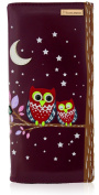 KukuBird Twin Owl Moon & Stars Pattern Large Ladies Purse Clutch Wallet