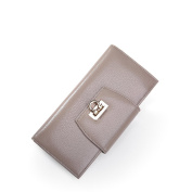 Fineplus Simple Pure Colour Full Grain Leather Lock Money Cards Wallets For Girls Grey