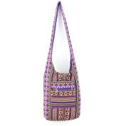 Sling shoulder bag boho hippie festival cotton canvas diamond pattern