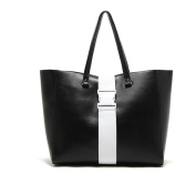 Oath_song Women's Faux Leather Loop Buckle Detail Tote Bag Black Large Size