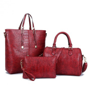 Hoxis 2016 New Arrival Multi-function 3 Pieces in a Lot Fashion Womens Bags Set Crocodile Pattern Faux Glossy Leather Handbags,clutches and Boston Satchel Golden Purse