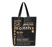Oath_song Black Nylon Lightweight 12 Months Print Large Tote Shopping Bag