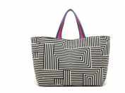 Oath_song Women's Canvas Tote Maze Pattern Shopping Bag Small Size