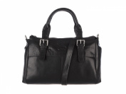 Black Leather Small Classic Handbag Two Handles by Hansson 6342