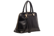 Black Leather Snake Print Bugatti Style Handbag by Smith & Canova
