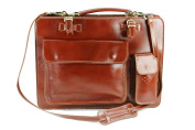 BELLI® Womens Italian Genuine Leather Handbag Business Bag Design Bag Brown - 39x29x11 cm