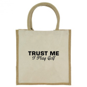 Trust Me I Play Golf in Black Print Jute Midi Shopping Bag with Beige Handles and Trim