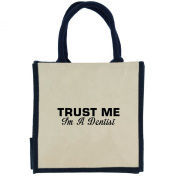 Trust Me I'm a Dentist in Black Print Jute Midi Shopping Bag with Navy Handles and Trim