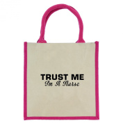 Trust Me I'm a Nurse in Black Print Jute Midi Shopping Bag with Pink Handles and Trim