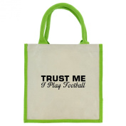 Trust Me I Play Football in Black Print Jute Midi Shopping Bag with Green Handles and Trim