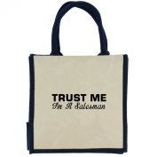 Trust Me I'm a Salesman in Black Print Jute Midi Shopping Bag with Navy Handles and Trim