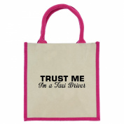 Trust Me I'm a Taxi Driver in Black Print Jute Midi Shopping Bag with Pink Handles and Trim