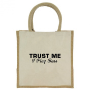 Trust Me I Play Bass in Black Print Jute Midi Shopping Bag with Beige Handles and Trim
