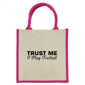 Trust Me I Play Football in Black Print Jute Midi Shopping Bag with Pink Handles and Trim