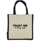 Trust Me I Play Golf in Black Print Jute Midi Shopping Bag with Black Handles and Trim
