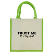 Trust Me I Play Golf in Black Print Jute Midi Shopping Bag with Green Handles and Trim