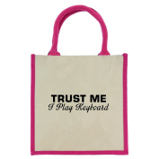 Trust Me I Play Keyboard in Black Print Jute Midi Shopping Bag with Pink Handles and Trim