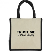 Trust Me I Play Rugby in Black Print Jute Midi Shopping Bag with Black Handles and Trim