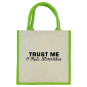 Trust Me I Ride Motorbikes in Black Print Jute Midi Shopping Bag with Green Handles and Trim