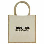 Trust Me I'm a Builder in Black Print Jute Midi Shopping Bag with Beige Handles and Trim