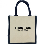 Trust Me I'm a Chef in Black Print Jute Midi Shopping Bag with Navy Handles and Trim