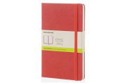 Moleskine Classic Notebook, Large, Plain, Coral Orange, Hard Cover