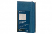 Moleskine 2017 Weekly Notebook, 12m, Pocket, Steel Blue, Hard Cover